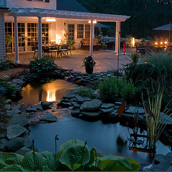 Backyard water feature and patio