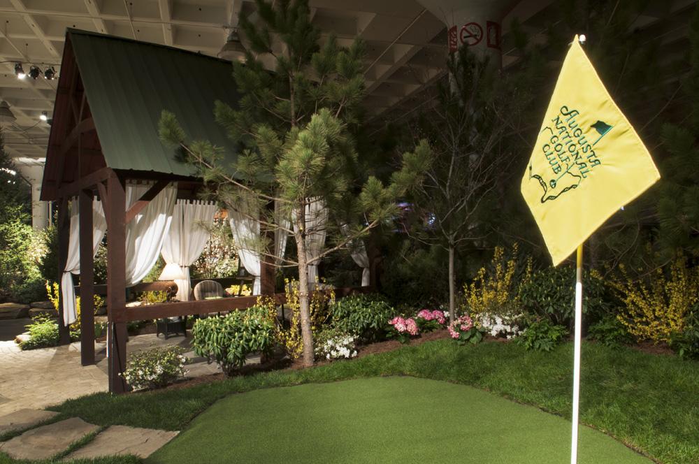 Golf landscape with hut