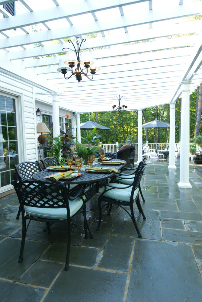 patio table and seating
