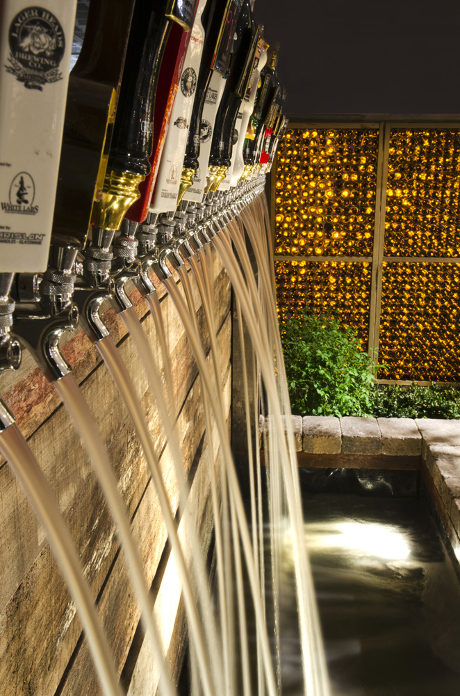 Beer tap water feature