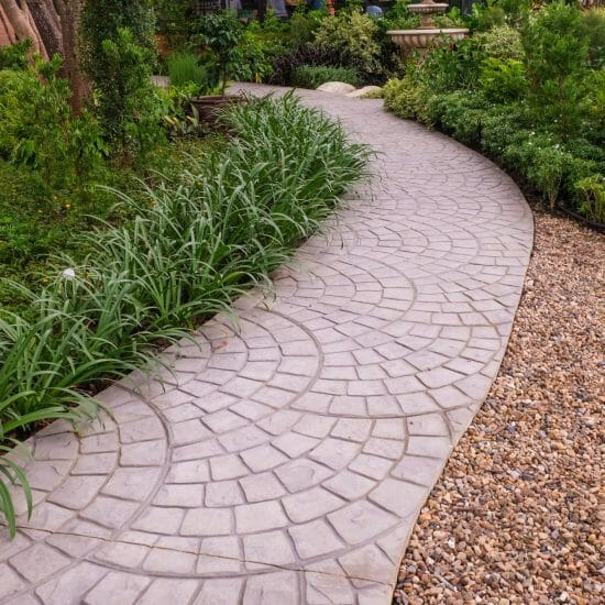 Stamped paved path